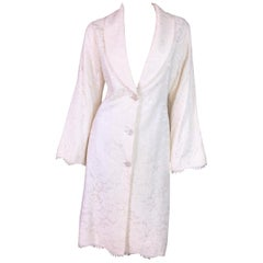 Circa 1999 Givenchy Couture by Alexander McQueen Ivory Lace Princess Dress Coat