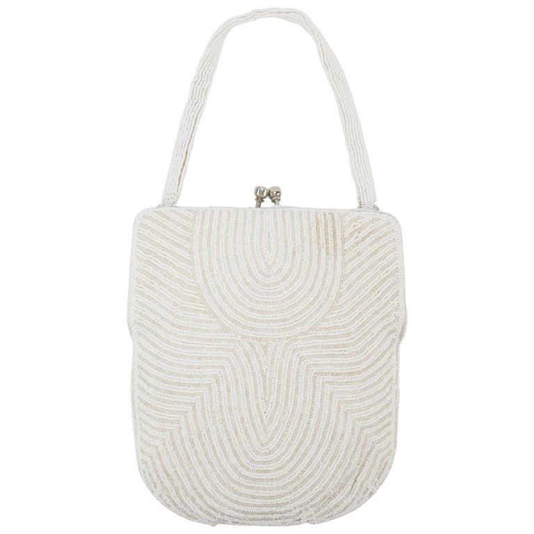 Walborg 1950's Art Deco Style White Beaded Evening Handbag