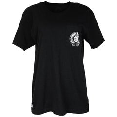Chrome Hearts Men's Black Flag American Flag Cotton Pocket Short Sleeve T-Shirt