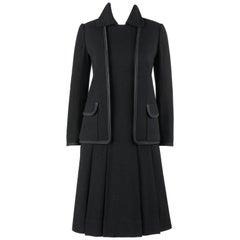 RIZKALLAH For MALCOLM STARR c.1970's 2 Pc Boucle Jacket Pleated Dress Suit Set