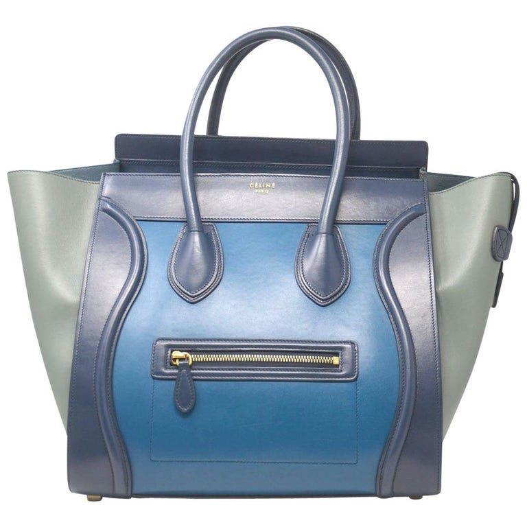 Celine Tri Color Navy, Blue and Gray Mini Luggage Leather Tote Handbag