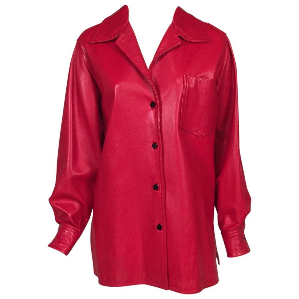 Bill Blass Red Lambskin Shirt or Jacket