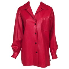 Bill Blass Red Lambskin Shirt or Jacket
