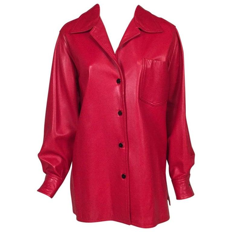 de3650d6009 Bill Blass Red Lambskin Shirt Jacket For Sale at 1stdibs