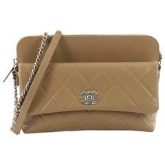 Chanel Zip Top Pocket Crossbody Bag Quilted Calfskin Small