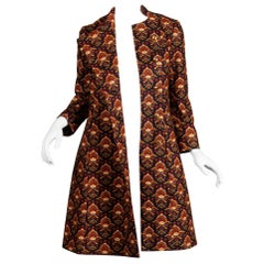 Christian Dior Vintage Asymmetric Tapestry Print Coat