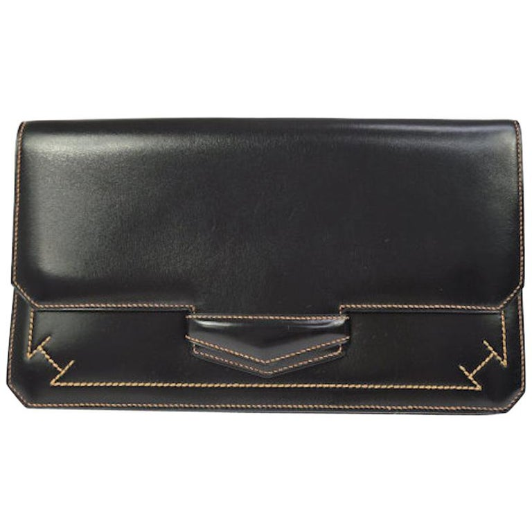 Hermes Leather Black Whipstitch Evening Envelope Fold in Flap Clutch Bag