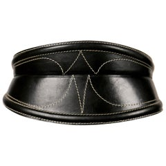 1980's GIANFRANCO FERRE wide black leather belt with top-stitching