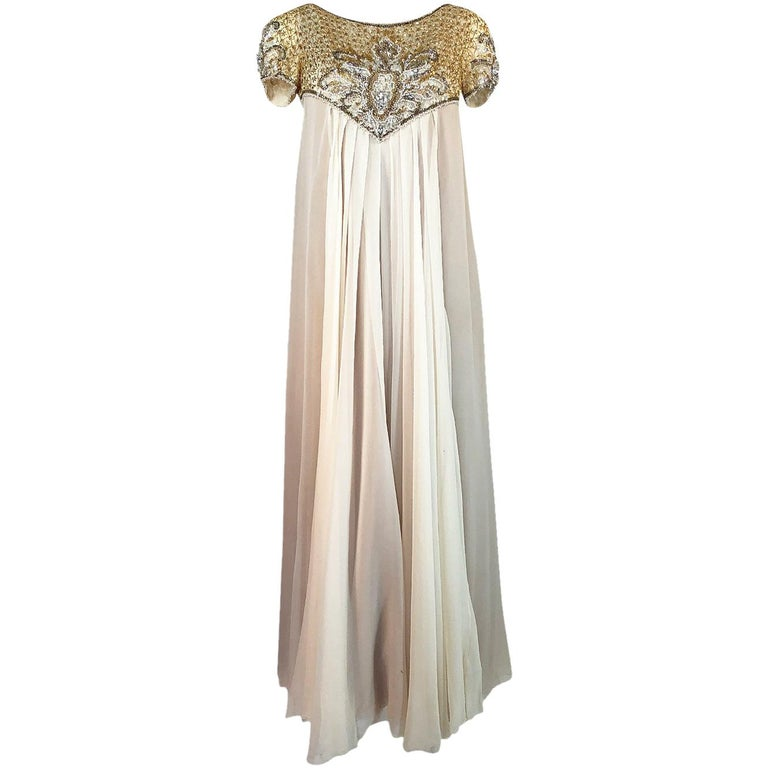c.1958-1965 Helen Rose Hand Beaded Ivory Silk Chiffon & Gold Dress For Sale