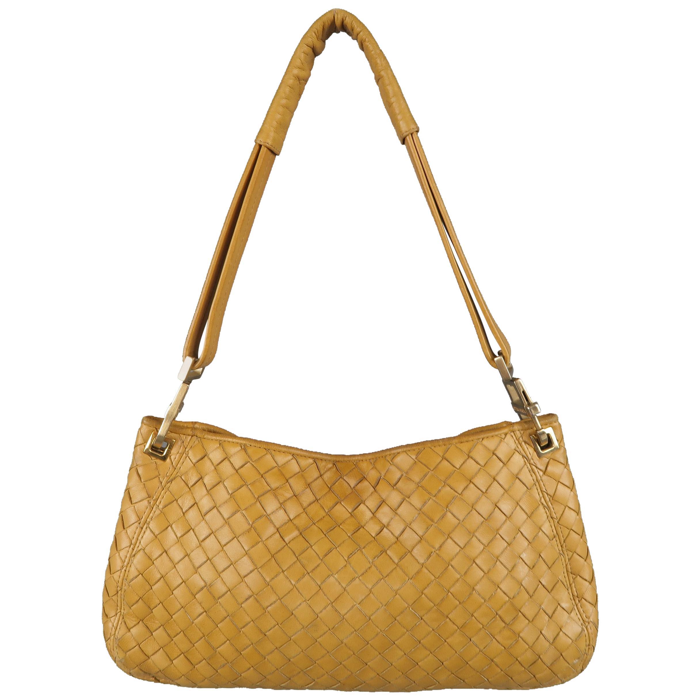 18f90b7551 BOTTEGA VENETA Yellow Gold Intrecciato Leather Shoulder Bag