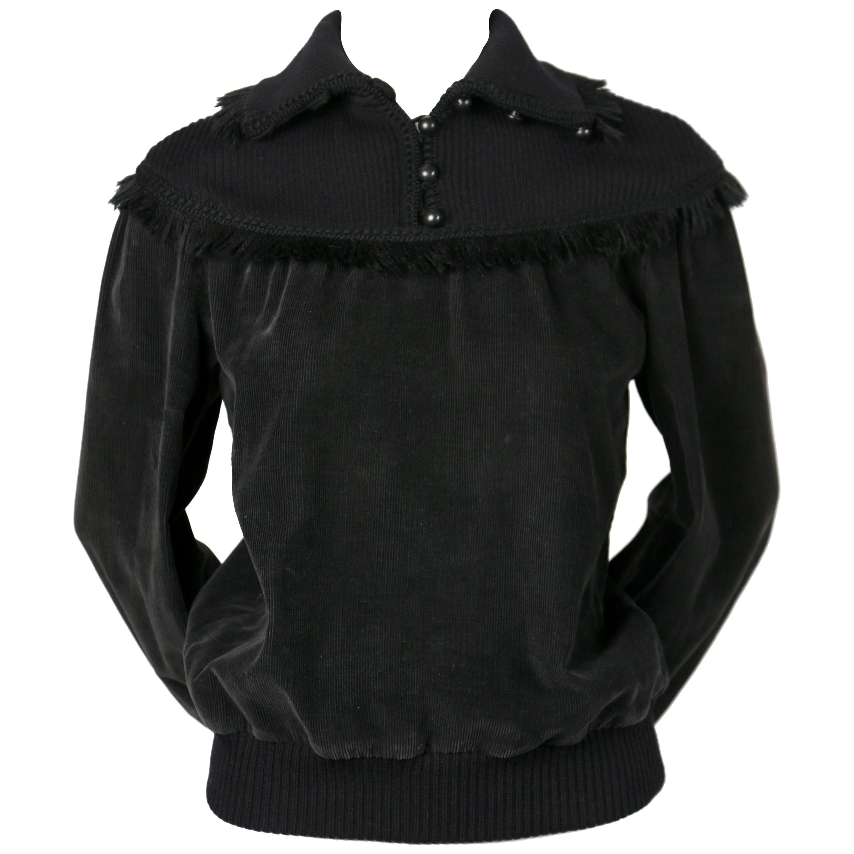 1970's SAINT LAURENT black corduroy sweater with fringed trim
