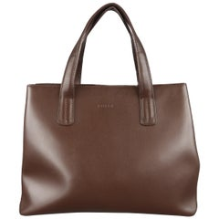 FURLA Brown Leather Double Top Handle Shoulder Strap Handbag