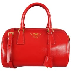 PRADA Red Patent Saffiano Leather Gold Hardware Bowler Handbag