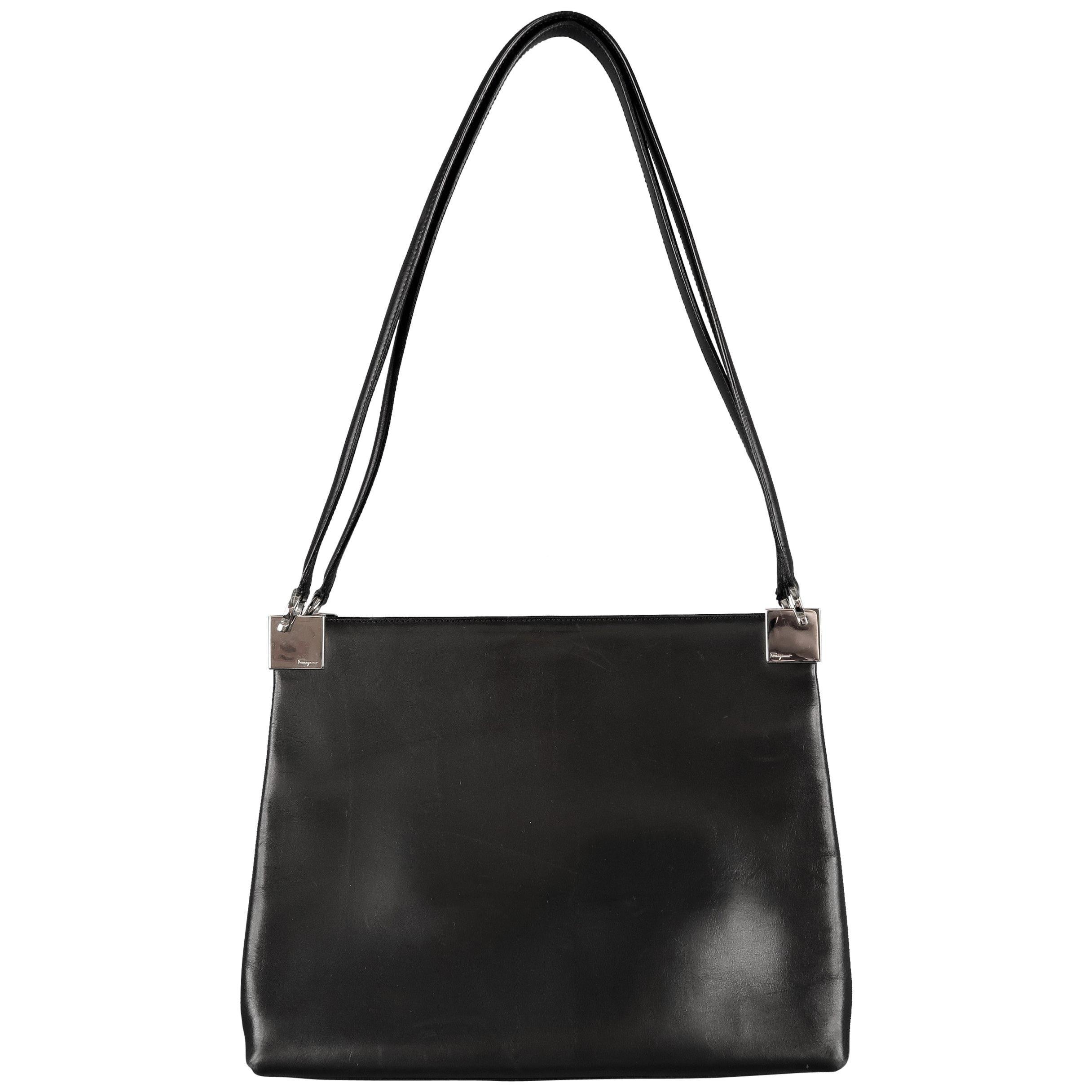 Vintage SALVATORE FERRAGAMO Black LeatherSilver Hardware Shoulder Bag at  1stdibs 35a4e301bc