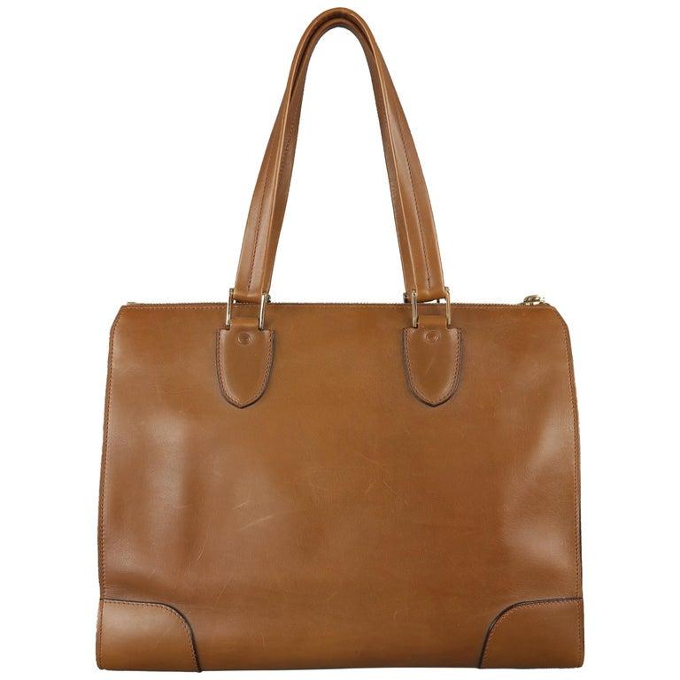 Valextra Light Brown Leather Babila Tote Top Handle Handbag For