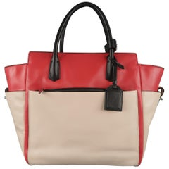 REED KRAKOFF Red Black & Light Pink Leather Tote Handbag