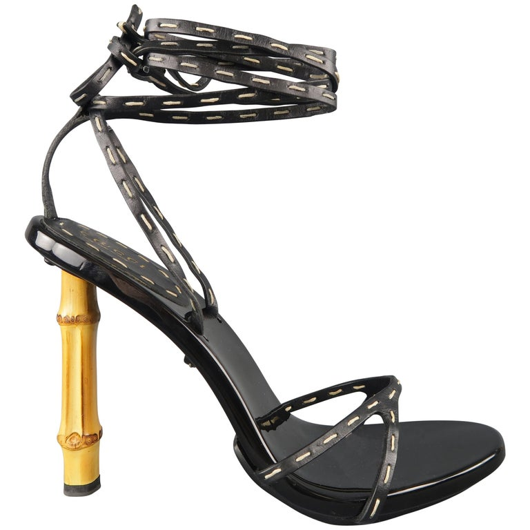 e31fd9a32bde GUCCI Size 9 Black Contrast Stitch Leather Bamboo Heels Wrap Sandals Pumps  For Sale