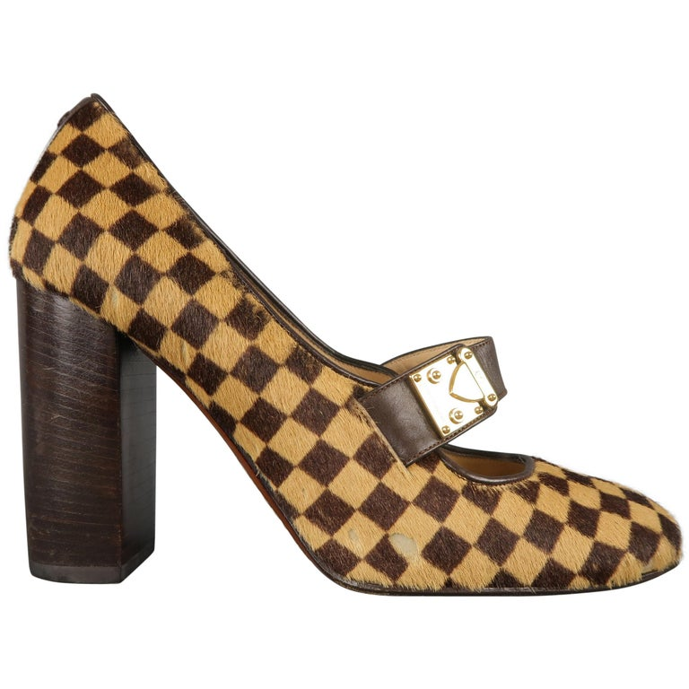 Louis Vuitton Beige Brown Checkered Pony Hair Gold Buckle Mary Jane Pumps