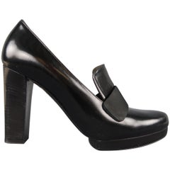 LANVIN Size 9 Black Patent Leather Chunky Heel Loafer Pumps