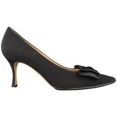 MANOLO BLAHNIK Size 11 Black Silk Pointed Bow BECCARA Pumps / Heels