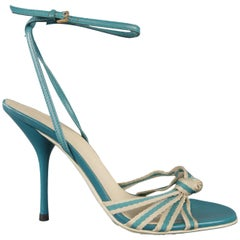 GUCCI Size 7.5 Teal Leather Ankle Strap Stripe Knot Strap Sandals