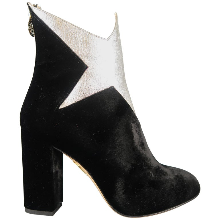 48edf2a67e3 CHARLOTTE OLYMPIA Size 7 Black Velvet Silver Leather Galactica Boots For  Sale