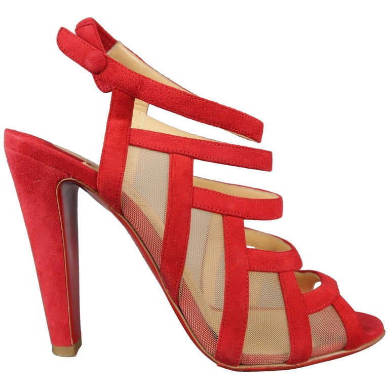 f2befcc4920 CHRISTIAN LOUBOUTIN Size 7 Red Suede Nicobar Mesh Panel Strappy Sandals