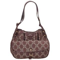 Celine Red x Gray Macadam Denim Shoulder Bag