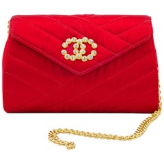 1980s Chanel Red Satin Evening Bag