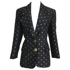 Vintage Moschino Navy Blazer Jacket with Gold Stars