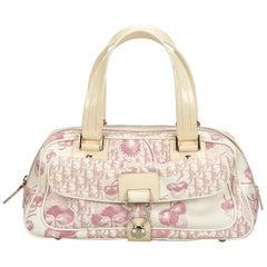 Dior Pink x White x Ivory Flower Canvas Polochon Shoulder Bag