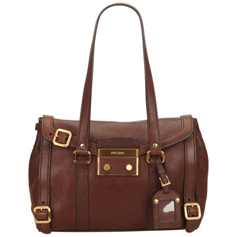 Prada Tan Leather Shoulder Strap Purse For Sale at 1stdibs af35549dc76e9