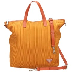 Prada Orange x Yellow Striped Cotton Satchel