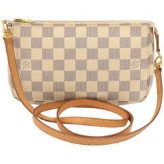 Louis Vuitton Pochette Accessories Damier Azur Canvas Hand Bag + Strap