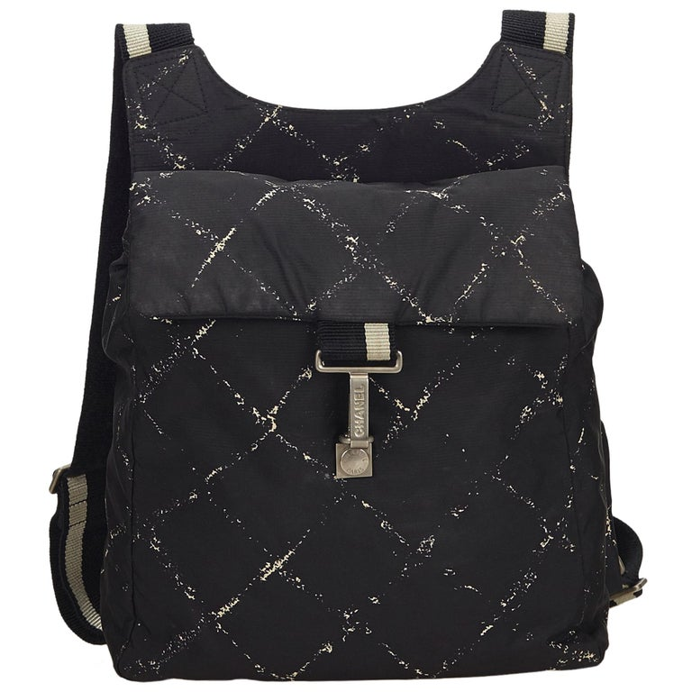 Chanel Black x White Old Travel Nylon Backpack For Sale