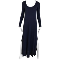 1970s Halston Blue Jersey Dress