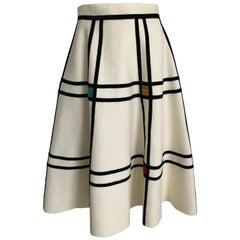 1950s Creme Felt Circle Skirt