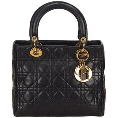 Dior Black Cannage Lambskin Lady Dior Bag