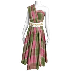 Vintage Tina Lesser Pink and Green Plaid Cotton Dress
