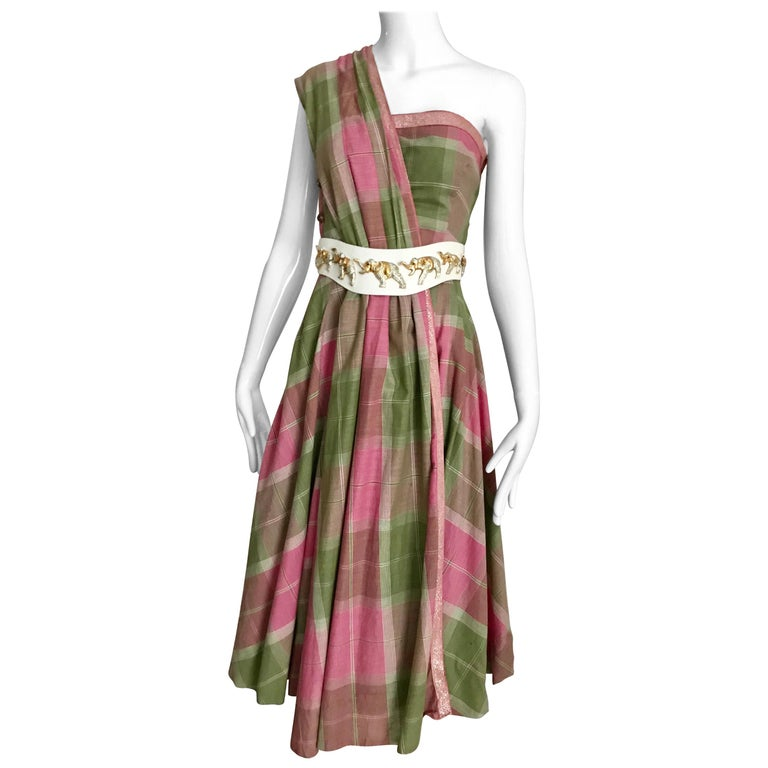Vintage Tina Lesser Pink and Green Plaid Cotton Dress For Sale