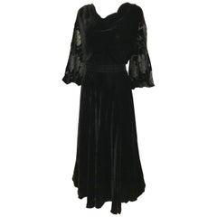 1930s  Black Velvet Gown