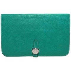 Hermes Teal Jade Green Clemence Leather PHW Dogon Wallet