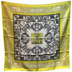 Hermes Early America Chartreuse Yellow Silk Scarf