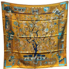 Hermes Vintage Fantaisies Indiennes Silk Scarf in Gold c1987