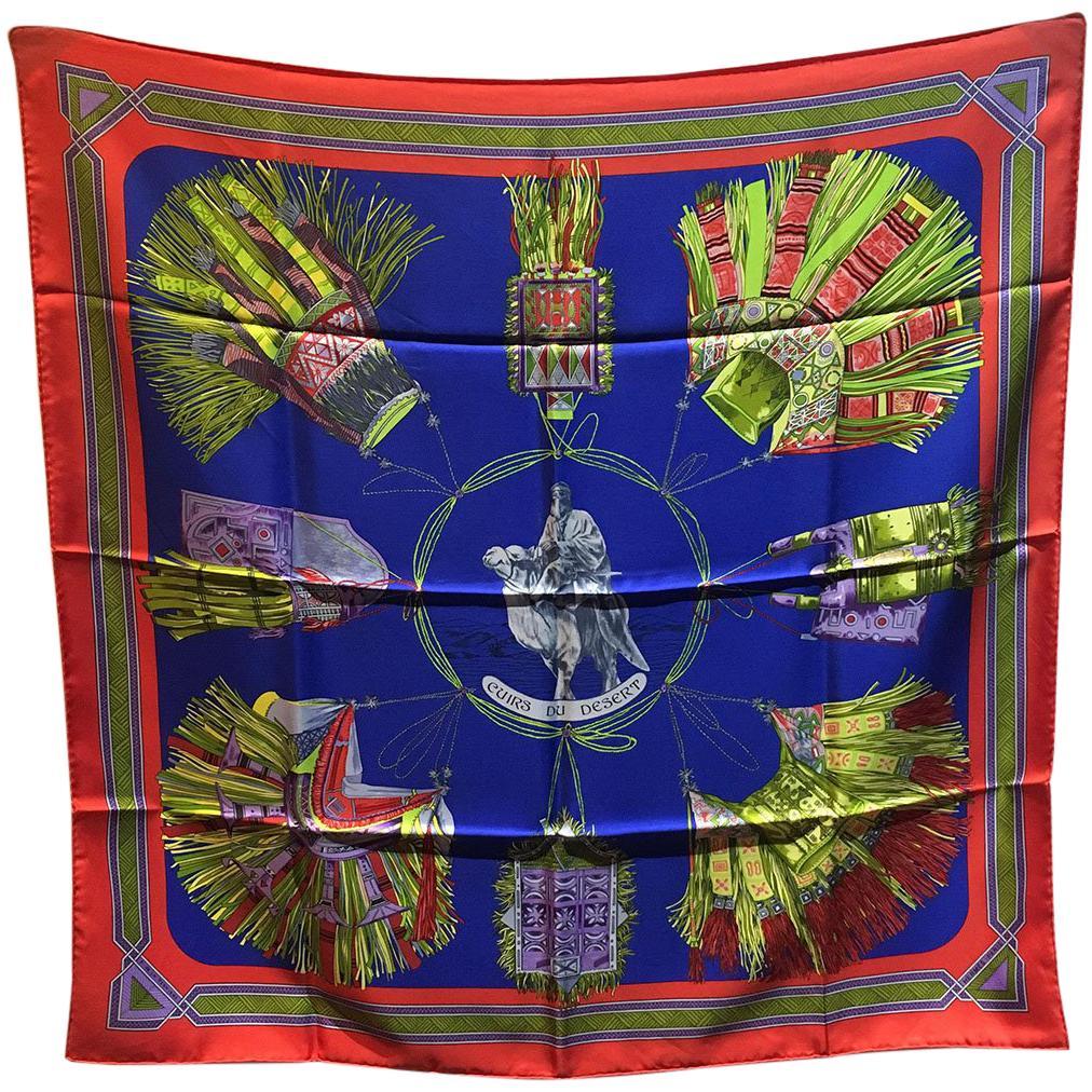 Hermes Vintage Cuirs du Desert Silk Scarf in Red and Blue c1988