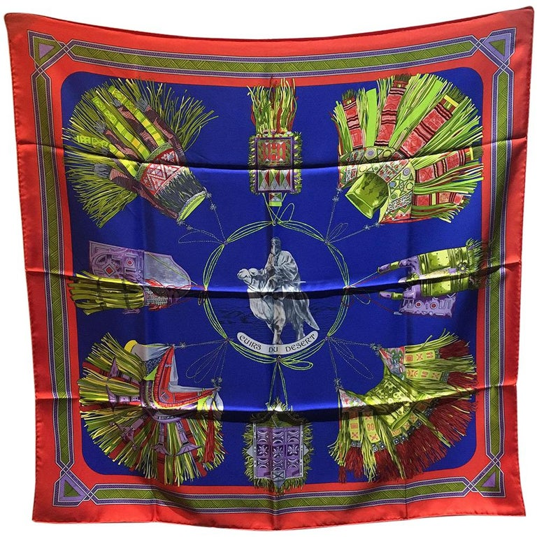 Hermes Vintage Cuirs du Desert Silk Scarf in Red and Blue c1988