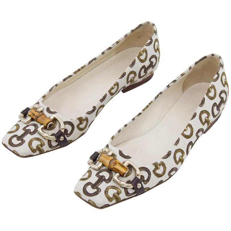 2fd9747a0 Early 2000s Gucci Bamboo and Horsebit Printed Flats For Sale at 1stdibs