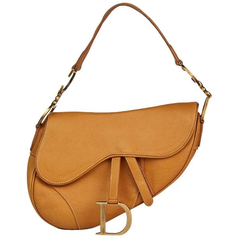 deb80d68bb0 2002 Christian Dior Tan Calfskin Leather Saddle Bag at 1stdibs
