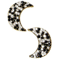 ISABEL CANOVAS Clip-on Moon Shape Earrings in Aged Gilt Metal and Rhinestones