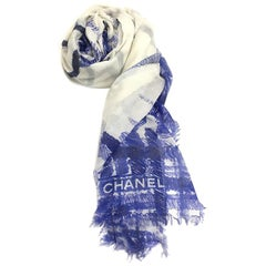 CHANEL Shawl in Blue and Ecru Modal and Silk